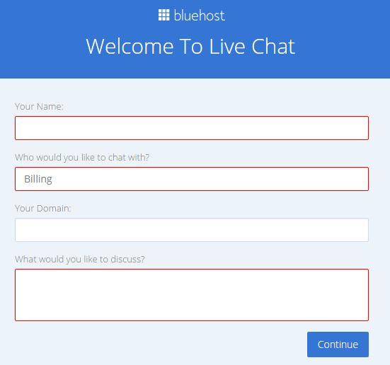 bluehost live chat support for wordpress